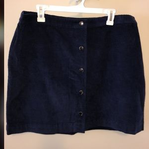 High waisted navy corduroy button up skirt